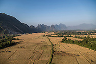 View over Vang Vieng from a hot air balloon, Vientiane, Laos, Southeast Asia