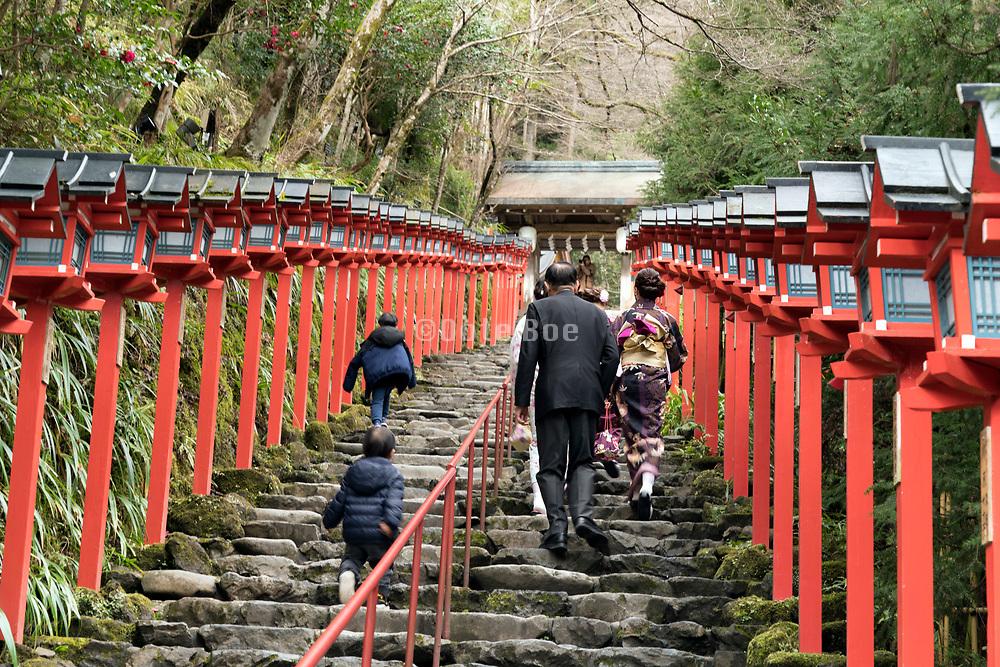 stairs at the Kifune shrine in Kurama Kyoto Japan