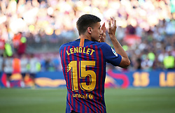 August 15, 2018 - Barcelona, Spain - Clement Lenglet during the presentation of the team 2018-19 before the match between FC Barcelona and C.A. Boca Juniors, corresponding to the Joan Gamper trophy, played at the Camp Nou, on 15th August, 2018, in Barcelona, Spain. (Credit Image: © Joan Valls/NurPhoto via ZUMA Press)