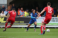 AFC Wimbledon defender Toby Sibbick (20) dribblingduring the EFL Sky Bet League 1 match between AFC Wimbledon and Accrington Stanley at the Cherry Red Records Stadium, Kingston, England on 6 April 2019.