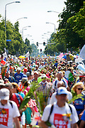 Nederland, Nijmegen, 22-7-2016 Intocht van de wandelaars in Nijmegen op de vierde dag van de 100e 4Daagse . Het vierdaagselegioen loopt over de Via Gladiola Nijmegen binnen. Na een feestelijke intocht volgt de uiteindelijke finish en het ophalen van het kruisje, vierdaagsekruisje, op de Wedren. Iedere deelnemer krijgt een bloem, gladiool, uitgerijkt. The International Four Day Marches Nijmegen is the largest marching event in the world. It is organized every year in Nijmegen mid-July as a means of promoting sport and exercise. Participants walk 30, 40 or 50 kilometers daily, and on completion, receive a royally approved medal, Vierdaagsekruis. The participants are mostly civilians, but there are also a few thousand military participants. In 2004 a restriction on the maximum number of registrations is set to 45,000. More than a hundred countries have been represented in the Marches over the years. Foto: Flip Franssen