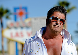 October 3, 2017 - Elvis impersonator Mark Rumpler, an 11-year Las Vegas resident, reflects over Sunday's Route 91 Harvest Festival mass shooting in Las Vegas, Nev. on Tuesday, Oct. 3, 2017. (Credit Image: © Press Enterprise via ZUMA Wire)