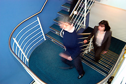 Office staff take stairs to keep fit UK