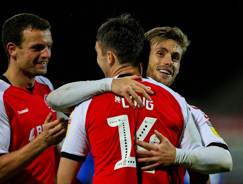 Fleetwood Town's Conor McAleny celebrates scoring his side's second goal with Chris Long<br /> <br /> Photographer Alex Dodd/CameraSport<br /> <br /> The EFL Checkatrade Trophy - Northern Group B - Fleetwood Town v Leicester City U21 - Tuesday September 11th 2018 - Highbury Stadium - Fleetwood<br />  <br /> World Copyright © 2018 CameraSport. All rights reserved. 43 Linden Ave. Countesthorpe. Leicester. England. LE8 5PG - Tel: +44 (0) 116 277 4147 - admin@camerasport.com - www.camerasport.com