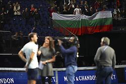 November 13, 2017 - London, United Kingdom - Grigor Dimitrov wins in his Singles match against Dominic Thiem during day two of the Nitto ATP World Tour Finals at O2 Arena, London on November 13, 2017. (Credit Image: © Alberto Pezzali/NurPhoto via ZUMA Press)