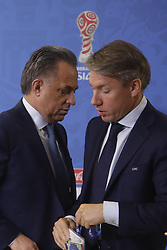 July 1, 2017 - Sain Petersburg, Russia - Russian Federation Deputy Prime Minister & Local Organising Committee (LOC) Chairman Vitaly Mutko (L) and Local Organising Committee (LOC) CEO Alexey Sorokin during FIFA Confederations Cup Russia 2017 closing press conference at Saint Petersburg Stadium on July 1, 2017 in Saint Petersburg, Russia. (Credit Image: © Mike Kireev/NurPhoto via ZUMA Press)
