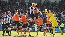 St Mirren's Gary MacKenzie gets his head in first during the Ladbrokes Premiership play-off final, second leg match at the Simple Digital Arena, St Mirren.