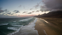Aerial panoramic view of Cofete beach in National Park of Jandía  in Fuerteventura, Canary Islands.