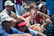 Ellie Spieth, Jordan's sister, sits with their father, Shawn, during the final round of the AT&T Byron Nelson in Las Colinas, Texas on May 31, 2015. (Cooper Neill for The New York Times)