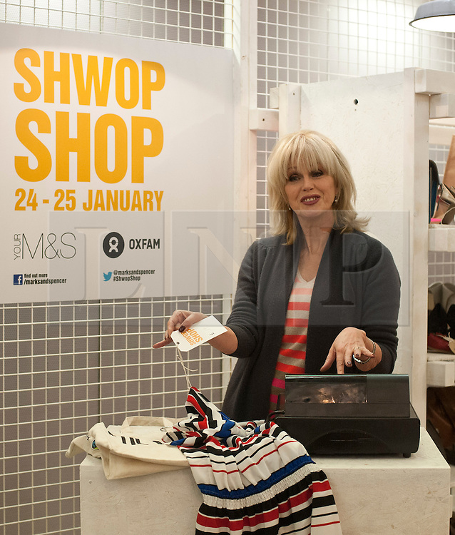 © Licensed to London News Pictures. 24/01/2013. London, United Kingdom.  Joanna Lumley opens the Marks & Spencer and Oxfam two day pop-up charity shop, filled with items donated by celebrities, including Alexa Chung, Daisy Lowe, Pixie Lott, Plan B, Jo Wood, Zandra Rhodes, Caroline Flack, Tali Lennox, Erin O'Connor, Joanne Froggatt, Ellie Goulding, Gemma Cairney and Susie Lau. The shop also features a unique collection of vintage M&S items from its first-ever St Michael collection in 1928 to present day. The shop is staffed by celebrities, including Joanna Lumley, Grace Woodward and Brix Smith-Start, and items can be purchased by swapping customers' own unwanted clothes.. Photo credit : Justin Setterfield/LNP.