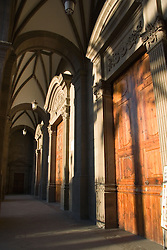 Wooden entrance in Cathedral in Las Palmas in the Canary Islands,