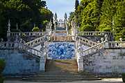 18th Century hilltop chapel Nossa Senhiora Dos Remedios with 686 steps on stairways and azulejos tiles in Lamego, Portugal.
