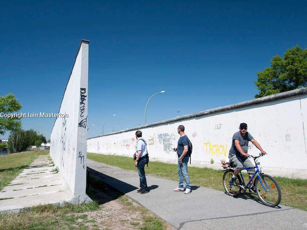 Sections of original Berlin Wall at East Side Gallery in Berlin Germany