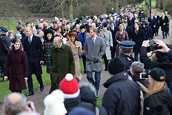 (Left-right front) Lady Louise Windsor, the Duke of Edinburgh, (left-right centre) The Duke and Duchess of Cambridge, Meghan Markle and Prince Harry arriving to attend the Christmas Day morning church service at St Mary Magdalene Church in Sandringham, Norfolk.