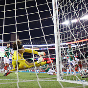 Goalkeeper Guillermo Ochoa, Mexico, make a fine save during the Portugal V Mexico International Friendly match in preparation for the 2014 FIFA World Cup in Brazil. Gillette Stadium, Boston (Foxborough), Massachusetts, USA. 6th June 2014. Photo Tim Clayton