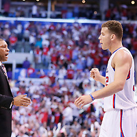 11 May 2014: Los Angeles Clippers head coach Doc Rivers and Los Angeles Clippers forward Blake Griffin (32) celebrate during the Los Angeles Clippers 101-99 victory over the Oklahoma City Thunder, during Game Four of the Western Conference Semifinals of the NBA Playoffs, at the Staples Center, Los Angeles, California, USA.