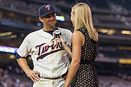 Brian Dozier #2 of the Minnesota Twins laughs with Jamie Hersch of Fox Sports North during a post-game interview on June 19, 2013 at Target Field in Minneapolis, Minnesota.  The Twins defeated the Chicago White Sox 7 to 4.  Photo: Ben Krause