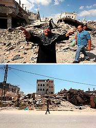 07.07.2015, Gaza city, PSE, Nahostkonflikt zwischen Israel und Palästina, Vorher und Nachher, im Bild eine Combo von zwei Bildern das obere ist im Krieg des Sommers 2014 zwischen Palästina und Israel und aufgenommen worden, das untere am 07. Juli 2015 // A combination of pictures made on July 7, 2015 shows (top) a Palestinian woman reacts amongst the debris of the buildings, destroyed by Israeli forces bombardments on July 26, 2014, in Gaza City, and the same place (bottom) on July 7, 2015, a year after the 50-day war between Israel and Hamas' militants, Palestine on 2015/07/07. EXPA Pictures © 2015, PhotoCredit: EXPA/ APAimages/ Ashraf Amra<br /> <br /> *****ATTENTION - for AUT, GER, SUI, ITA, POL, CRO, SRB only*****