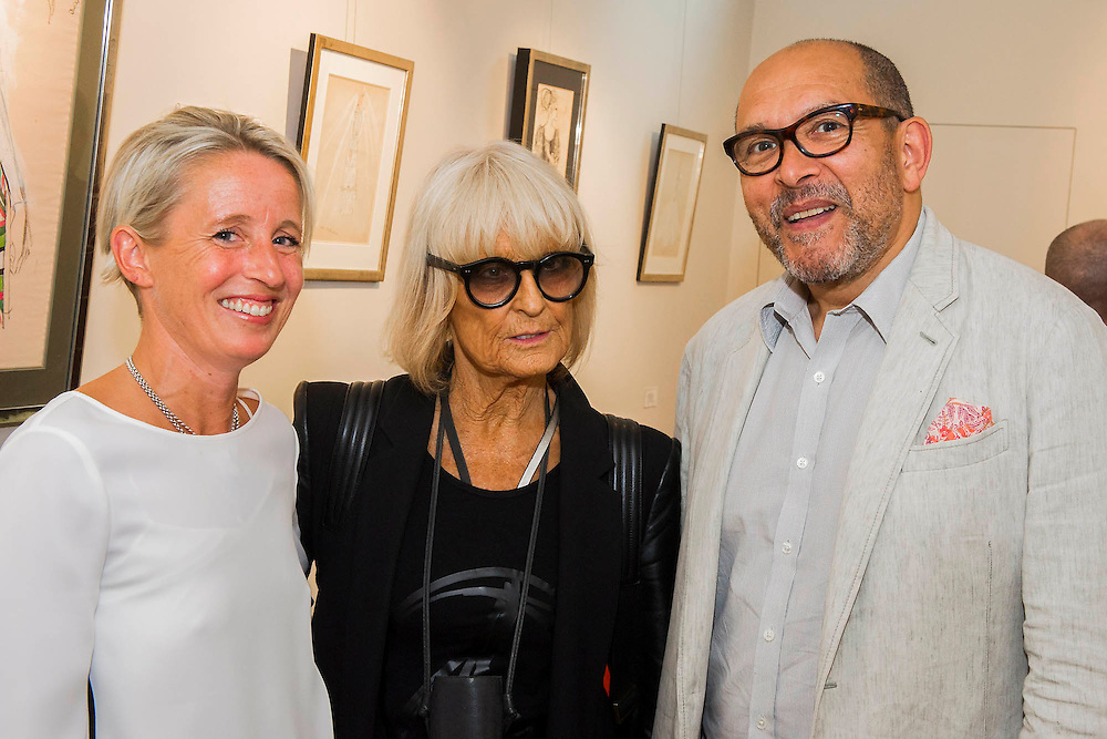 Barbara Hulanicki (BIBA) and Bruce Oldfield attend (here with gallery owner Connie Gray) the Private view for Drawing on Style: Four Decades of Elegance - an exhibition of original vintage fashion illustrations from Post War 1940s through to the 1970s organized by GRAY M.C.A, leading specialists in Fashion Illustration.  It includes more than 40 original works by some of the leading illustrators of the time from Britain, Europe and America including René Bouché, René Gruau and Carl Erickson for publications including Vogue as well as advertising work for L'Oreal and other famous names in Haute Couture.  There are also a selection of original designs by designers including Dior, Biba & Zandra Rhodes. Coinciding with London Fashion Week, the exhibition runs from Thursday 11th - Tuesday 16th September 2014 with prices from £300-£10,000. Gallery 8, St James's, London. 10 Sept 2014. Guy Bell, 07771 786236, guy@gbphotos.com