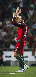 October 10, 2017 - Lisbon, Portugal - Portugal's forward Cristiano Ronaldo  celebrating their victory during the FIFA 2018 World Cup Qualifier match between Portugal and Switzerland at the Luz Stadium on October 10, 2017 in Lisbon, Portugal. NURPHOTO / CARLOS COSTA  (Credit Image: © Carlos Costa/NurPhoto via ZUMA Press)