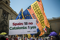 June 11, 2017 - Barcelona, Catalonia, Spain - Demonstrators with their placards take part in a pro-independence act at Barcelona's Montjuic Fountains in support of the recently announced referendum over Catalonia's independence from Spain in form of a republic at October 1st (Credit Image: © Matthias Oesterle via ZUMA Wire)