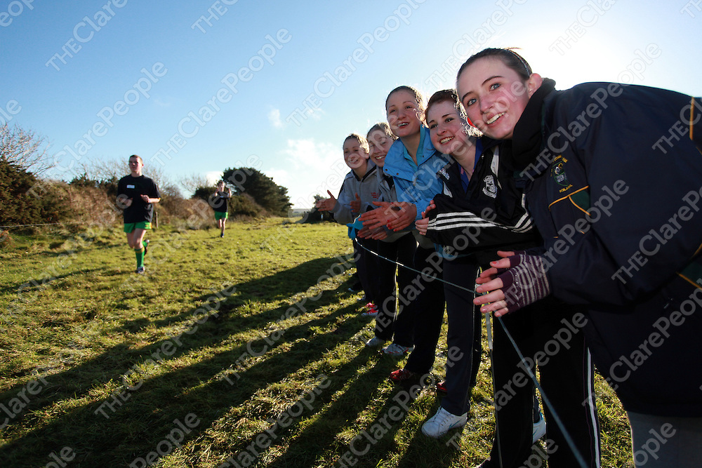 Jean Clancy, Laura Egan, Niamh Clancy, Caroline Breen and Nichole Golden cheering on the runners at the schools cross country finals in Mullagh on Friday.<br /> Photograph by Yvonne Vaughan
