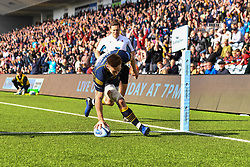 Josh Adams of Worcester Warriors scores a try - Mandatory by-line: Craig Thomas/JMP - 13/04/2019 - RUGBY - Sixways Stadium - Worcester, England - Worcester Warriors v Sale Sharks - Gallagher Premiership Rugby