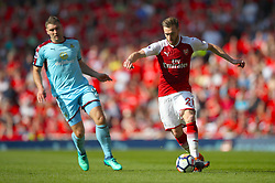 Arsenal's Calum Chambers (right) in action