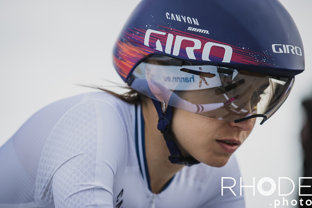 Omer Shapira (ISR/Canyon SRAM) pre race focus<br /> <br /> Healthy Ageing Tour (NED) 2021<br /> UCI Women Elite 2.1<br /> Stage 2 : Individual Time Trial (ITT) – Lauwersoog – Het Hoogeland 14.4km<br /> <br /> ©RhodePhoto