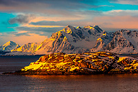 Snow covered coastline, Austvagoya Island, Lofoten Islands, Arctic, Northern Norway.