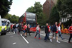 14 September 2017 -  UEFA Europa League Arsenal v FC Koln - FC Koln fans bring traffic to a standstill at Highbury Corner five hours before the match - Photo: Mark Leech/Offside
