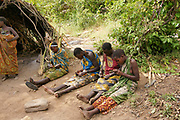 A group of Hadza woman in traditional dress. Photographed at Lake Eyasi, Tanzania