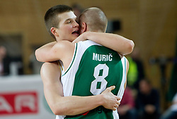 Edo Muric of Krka (R) and his brother Dino Muric of Olimpija after the basketball match between KK Union Olimpija and KK Krka in 3rd Quarterfinal of Spar Slovenian Cup, on February 11, 2011 in Sportna dvorana Poden, Skofja Loka, Slovenia. Union Olimpija defeated Krka 122-113 after 3-overtimes. (Photo By Vid Ponikvar / Sportida.com)
