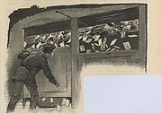 'View of the letterbox inside the General Post Office, St Martin's le Grand, London, at 6pm as people rush to catch the last post. Engraving, 1886.'