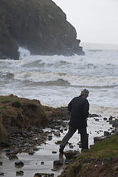 © Licensed to London News Pictures. 05/02/2014. Nolton Haven, Wales. UK. Gale force winds and huge waves hit the South & South West Wales coastline ahead of a more serious storm forecast for this weekend. The Met Office said that yet another rapidly deepening area of low pressure will approach the southwest later on Friday bringing heavy downpours with 20-30mm of rain expected within warning areas and 40-50mm possible on high ground in the South West.. Photo credit : Graham M. Lawrence/LNP