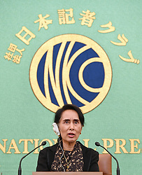 Aung San Suu Kyi gibt eine Pk in Tokio / 041116 ***Myanmar leader Aung San Suu Kyi attends a press conference in Tokyo on Nov. 4, 2016. Suu Kyi pledged to resolve ethnic conflicts, including tensions in Rakhine state, and called for investment from Japanese companies for stable development.