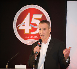 CARDIFF, WALES - Wednesday, November 11, 2009: Former Wales, Liverpool, Chelsea and Wrexham star Joey Jones speaks during the Football Association of Wales Player of the Year Awards hosted by Brains SA at the Cardiff City Stadium. (Pic by David Rawcliffe/Propaganda)