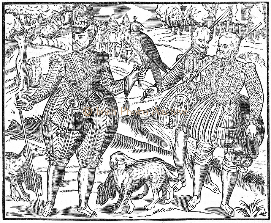 The Falconer. Woodcut from George Turbevile or Turbeville 'Book of Faulconrie' 1611.  Bird perched on gauntlet on man's wrist is still hooded.