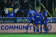 AFC Wimbledon striker Kweshi Appiah (9) celebrating after scoring goal to make it 1-0 during the The FA Cup match between AFC Wimbledon and West Ham United at the Cherry Red Records Stadium, Kingston, England on 26 January 2019.