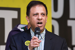 London, UK. 23rd March, 2019. Dr Chaand Nagpaul, Chair of the British Medical Association (BMA), addresses a million people taking part in a People's Vote rally in Parliament Square following a march from Park Lane.