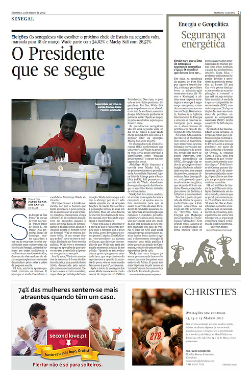 """Tearsheet of """"Senegal: presidential election"""" published in Expresso"""