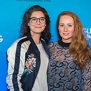 NLD/Amsterdam/20190307 Inloop Single Camping premiere, Sytske van der Ster en vriendin ........