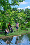 The Topiary Garden, a living recreation of Georges Seurat's famous post-Impressionist painting, A Sunday Afternoon on the Island of LaGrande Jatte. Located in downtown Columbus, Ohio.
