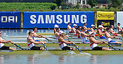 Chungju, South Korea.  Side view of the start of the men's fours GBR M4-, USA M4-, GERM4- , 2013 World Rowing Championships, Tangeum Lake, International Regatta Course.  Sunday  25/08/2013 [Mandatory Credit. Peter Spurrier/Intersport Images]