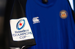 A general view of Heineken Champions Cup branding on a match jersey - Mandatory byline: Patrick Khachfe/JMP - 07966 386802 - 13/10/2018 - RUGBY UNION - The Recreation Ground - Bath, England - Bath Rugby v Toulouse - Heineken Champions Cup