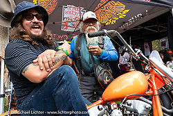 Love Cycle's Jeremiah Armenta with his very cool dad at the Born Free Motorcycle Show (BF11) at Oak Canyon Ranch, Silverado  CA, USA. Saturday, June 22, 2019. Photography ©2019 Michael Lichter.