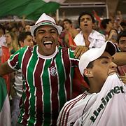 Fluminense fans celebrate after a goal scored by their team during the Fluminense V Sao Paulo, Futebol Brasileirao  League match at the Jornalista Mário Filho Stadium, Rio de Janeiro,  Brazil. 29th August 2010. Photo Tim Clayton.