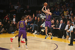 November 14, 2018 - Los Angeles, CA, U.S. - LOS ANGELES, CA - NOVEMBER 14: Los Angeles Lakers Guard Lonzo Ball (2) pulls up for an open three during the Portland Trail Blazers versus the Los Angles Lakers game on November 14, 2018, at Staples Center in Los Angeles, CA. (Photo by Icon Sportswire) (Credit Image: © Jevone Moore/Icon SMI via ZUMA Press)