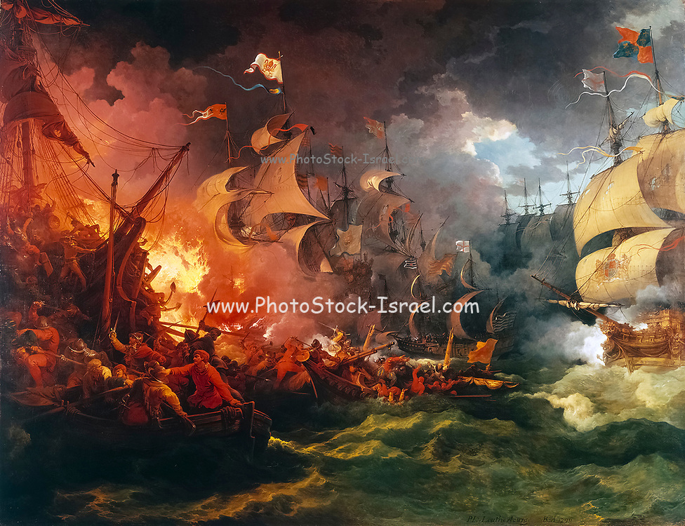 Defeat of the Spanish Armada, 8 August 1588 by Philip James de Loutherbourg RA (31 October 1740 – 11 March 1812), AKA Philippe-Jacques or Philipp Jakob, was a French-born British painter who became known for his large naval works.