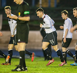 Falkirk's Mark Millar celebrates with team mates after scoring their first goal.<br /> Cowdenbeath 0 v 2 Falkirk, Scottish Championship game today at Central Park, the home ground of Cowdenbeath Football Club.<br /> © Michael Schofield.